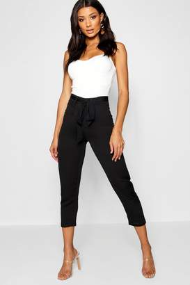 boohoo Cropped Tie Waist Slim Fit Trousers