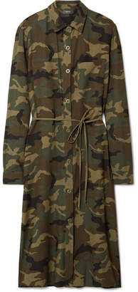 Amiri Camouflage-print Cotton And Cashmere-blend Shirt - Army green