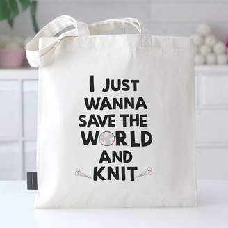 dc7c618a9 Kelly Connor Designs 'I Just Wanna Save The World And Knit' Knitting Bag