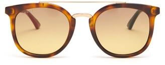 Gucci Web Striped Round Frame Acetate Sunglasses - Mens - Black