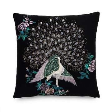 Natori Mayon Beaded Peacock Embroidery Pillow