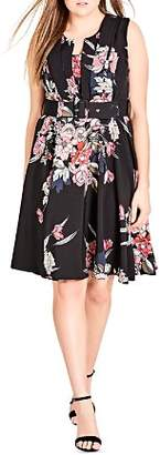 City Chic Plus Misty Floral Print Belted Dress