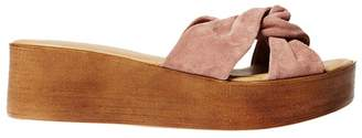 Dorothy Perkins Blush Leather Comfort 'Rio' Wedge Sandals