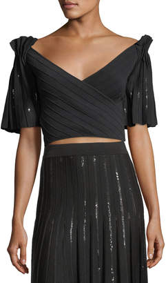 Jonathan Simkhai Pleated Sequin Pintucked Wrap Crop Top