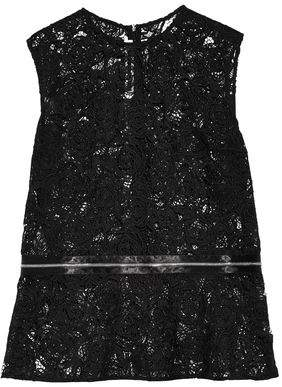 McQ Zip-Embellished Guipure Lace Peplum Top