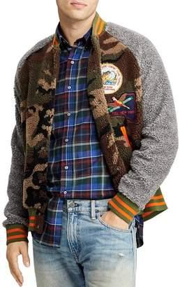 Polo Ralph Lauren Camouflage-Print Color-Block Fleece Baseball Jacket