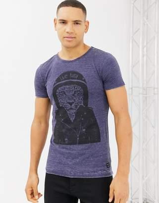 Blend slim fit t-shirt with motorbike tiger