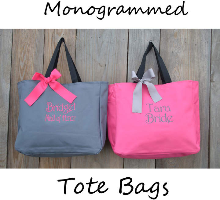 Etsy Bridesmaids Gift Set, Personalized Tote Bag, Wedding Party Gift, Bridal Party Gift, Monogrammed Tote