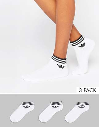 adidas 3 pack white ankle socks with trefoil logo
