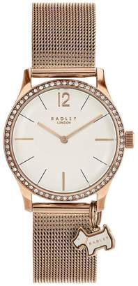 Radley London Rose Gold Mesh Millbank Watch With Rose Gold Casing Ladies Watch