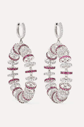 Ofira 18-karat White Gold, Ruby And Diamond Earrings - one size