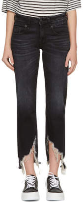 R 13 Indigo Boy Straight Long Jeans