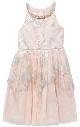 Iris & Ivy Sequin Peplum Social Dress (Little Girls)