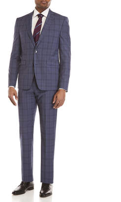 Vince Camuto Two-Piece Blue Violet Windowpane Plaid Suit