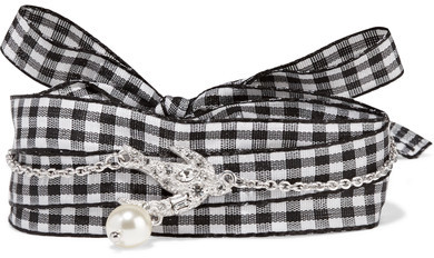 Miu MiuMiu Miu - Silver-tone, Swarovski Crystal, Faux Pearl And Gingham Cotton Bracelet - L