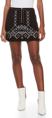 Lush Faux Suede Embroidered Mini Skirt