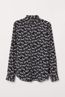 H&M Slim Fit Viscose-blend Shirt - Black
