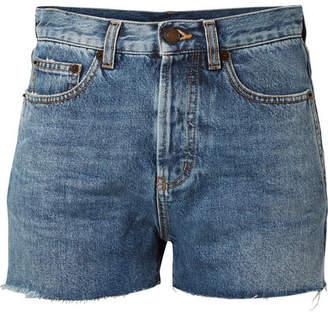 Saint Laurent Embroidered Denim Shorts - Blue
