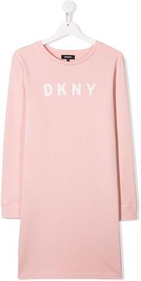 DKNY TEEN logo printed sweatshirt dress