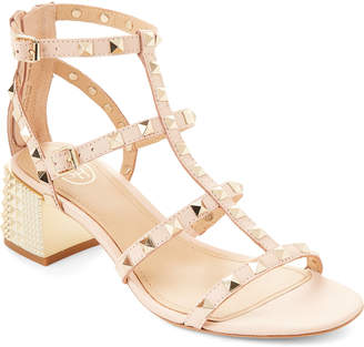 Ash Powder Rolls Studded Caged Leather Sandals