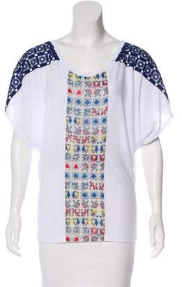 Anna Sui Embroidered Short Sleeve Top