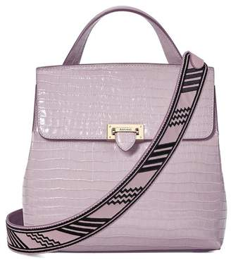 Aspinal of London Soho Backpack In Deep Shine Lilac Small Croc With Deco Embroidered Strap
