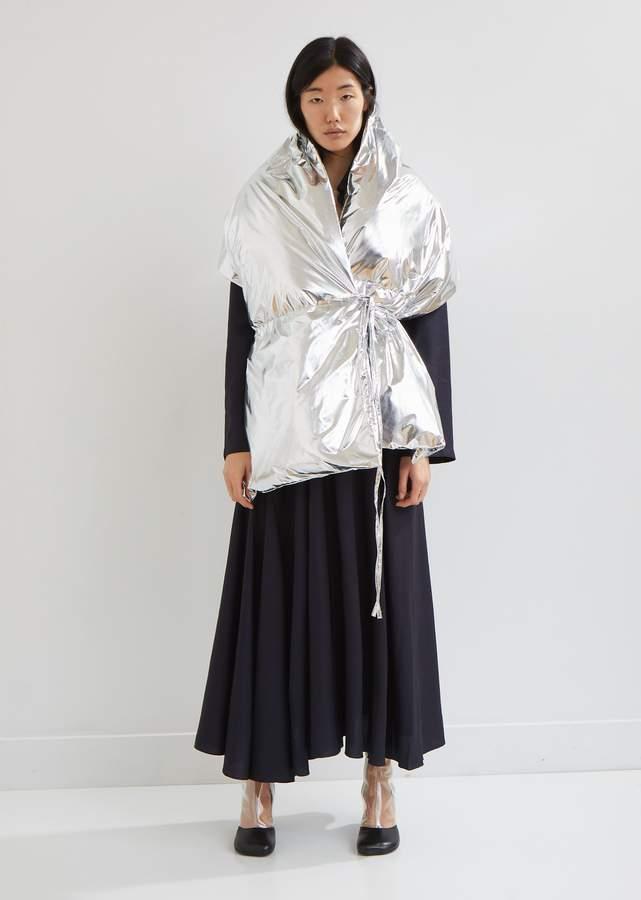Silver Wrap Puffer Vest