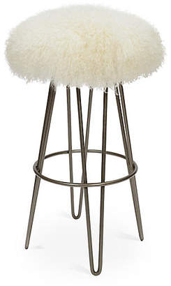 Le-Coterie Curly Hairpin Barstool - Silver/Cream