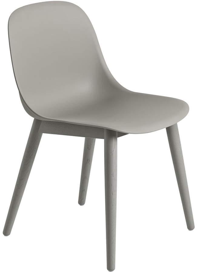 Muuto - Fiber Side Chair Wood, Grau / Grau