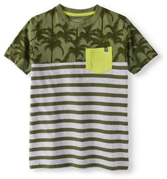 Cherokee Boys' Short Sleeve Color Block Palm Tree Pocket T-Shirt