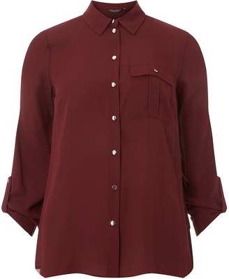 Dorothy Perkins Womens Wine Pocket Roll Sleeve Shirt