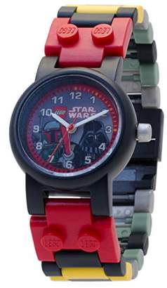 Lego Star Wars 8020813 Boba Fett and Darth Vader Kids Buildable Watch with Link Bracelet and Minifigures | black/red | plastic | 25mm case diameter| analog quartz | boy girl | official