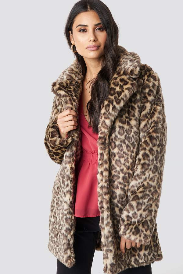 Dilara X NA-KD Fluffy Leo Jacket Leopard