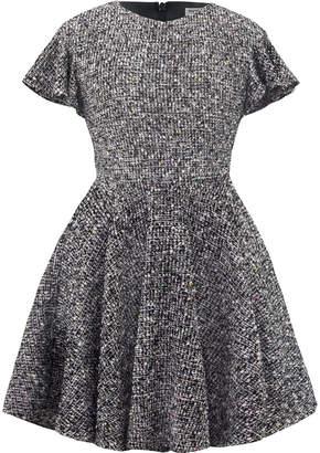David Charles Ruffle-Sleeve Tweed Lurex Dress, Size 10-16