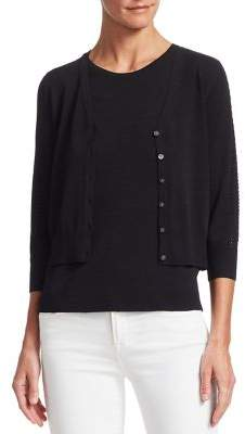 Saks Fifth Avenue V-Neck Pointelle Cardigan