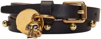 Alexander McQueen Black Skull Double Wrap Bracelet $315 thestylecure.com