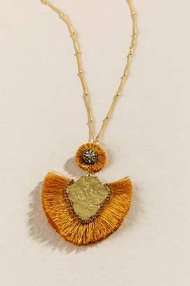 francesca's Alamogordo Fringe Pendant Necklace - Marigold