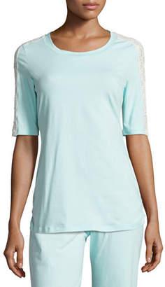 Cosabella Sonia Lace-Trim Lounge Top, Blue/White