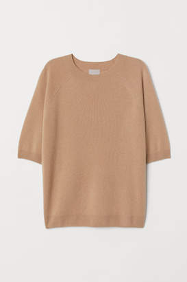 H&M Short-sleeved Cashmere Sweater - Beige