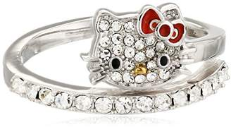 Hello Kitty Czech Crystals Flat Pave Face and Red Bow Girl's Spiral Ring