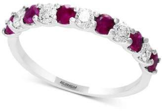 Effy Gemstone Bridal by Sapphire (1/2 ct. t.w.) & Diamond (1/4 ct. t.w.) Band in 18k White Gold