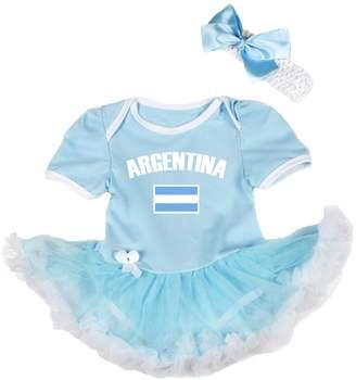 Petitebella National Theme Argentina Flag Blue White Bodysuit Baby Dress Nb-18m (, 6-12 Months)