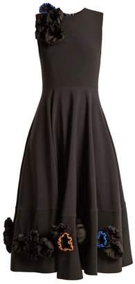 Roksanda - Zennia Flower Applique Crepe Dress - Womens - Black