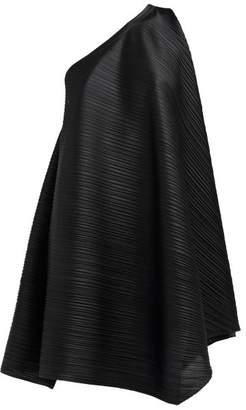 Pleats Please Issey Miyake One Shoulder Tech Pleated Dress - Womens - Black