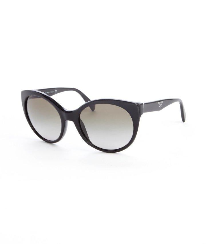 Prada Black Acrylic Rounded Oversized Sunglasses