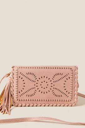 francesca's Inez Whipstitch Clutch Crossbody in Rose - Mauve