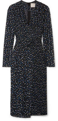 Jason Wu Cutout Floral-print Plissé-georgette Dress - Black