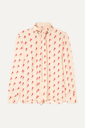 Chloé Printed Pussy-bow Silk-crepe Blouse - Blush
