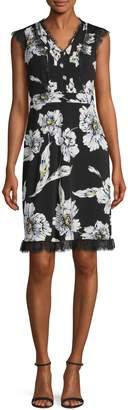 Karl Lagerfeld Paris Floral-Print Lace-Trimmed Dress