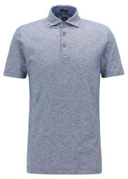 BOSS Hugo Slim-fit polo shirt in Italian mouline pique S Open Blue